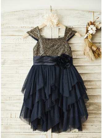 Gorgeous Square Neckline A-Line/Princess Flower Girl Dresses Knee-length Chiffon/Sequined Sleeveless