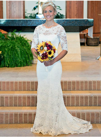 Chic Lace Wedding Dresses Trumpet/Mermaid Sweep Train Scoop Half Sleeves