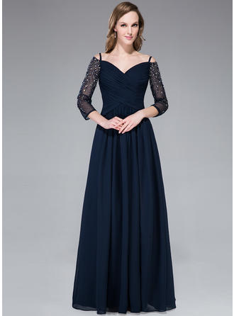 A-Line/Princess Off-the-Shoulder Floor-Length Evening Dresses With Ruffle Beading Split Front