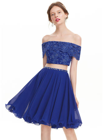 A-Line/Princess Off-the-Shoulder Chiffon Short Sleeves Knee-Length Beading Sequins Homecoming Dresses