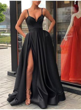 Satin Sleeveless A-Line/Princess Prom Dresses V-neck Split Front Sweep Train