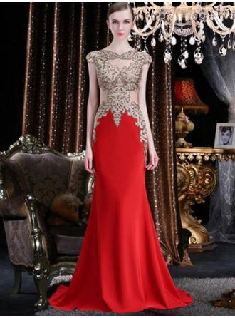 Trumpet/Mermaid V-neck Sweep Train Evening Dress