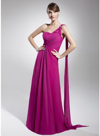 A-Line/Princess One-Shoulder Floor-Length Chiffon Prom Dress With Ruffle Beading