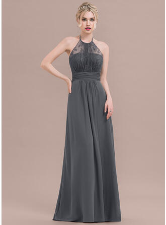 A-Line/Princess Halter Floor-Length Chiffon Lace Bridesmaid Dress With Ruffle Bow(s)
