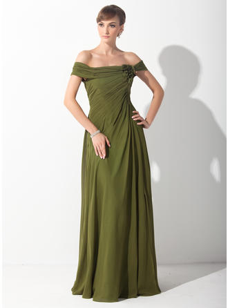 A-Line/Princess Off-the-Shoulder Chiffon Sleeveless Sweep Train Ruffle Flower(s) Mother of the Bride Dresses