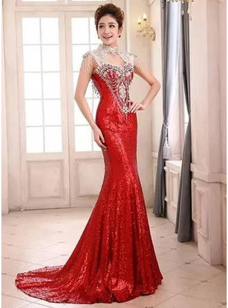 Trumpet/Mermaid High Neck Sweep Train Evening Dress With Beading