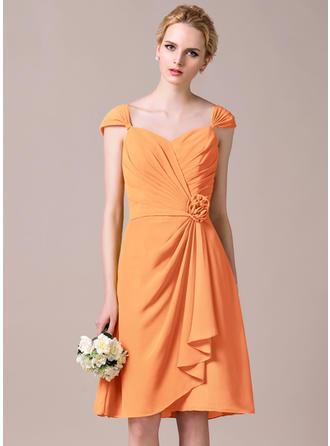 Chiffon Sleeveless A-Line/Princess Bridesmaid Dresses Sweetheart Flower(s) Cascading Ruffles Knee-Length