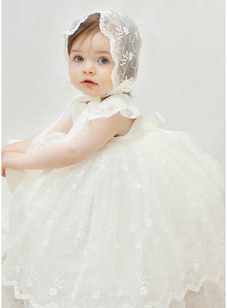 Scoop Neck A-Line/Princess Flower Girl Dresses Tulle/Lace Lace Short Sleeves Ankle-length