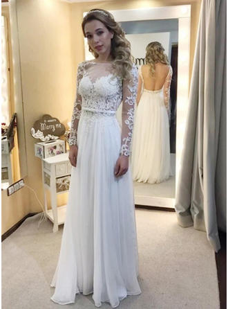 Delicate Floor-Length A-Line/Princess Wedding Dresses Scoop Chiffon Long Sleeves