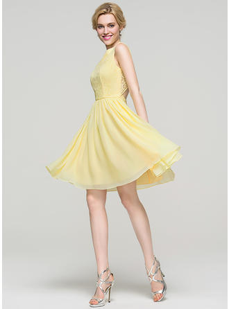 Flattering Chiffon Prom Dresses A-Line/Princess Knee-Length Scoop Neck Sleeveless