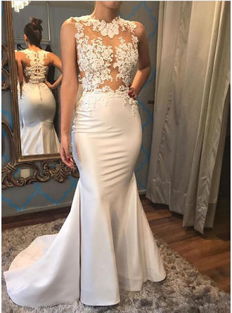Trumpet/Mermaid Scoop Court Train Wedding Dress With Beading Appliques Lace