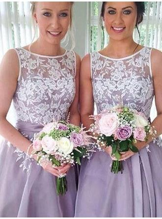 A-Line/Princess Organza Bridesmaid Dresses Sash Appliques Scoop Neck Sleeveless Knee-Length (007219270)