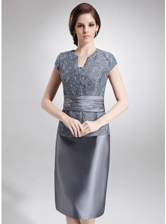 Sheath/Column V-neck Knee-Length Mother of the Bride Dresses With Beading