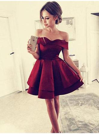 Gorgeous Homecoming Dresses A-Line/Princess Short/Mini Off-the-Shoulder Short Sleeves