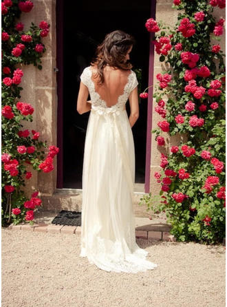 A-Line/Princess Tulle Short Sleeves V-neck Sweep Train Wedding Dresses