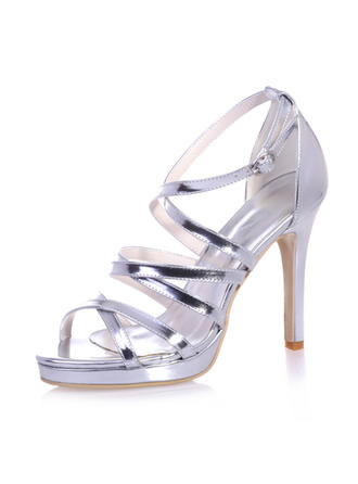 Vrouwen Patent Leather Stiletto Heel Peep Toe Plateau  ...