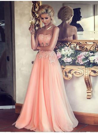 A-Line/Princess Strapless Floor-Length Evening Dress With Beading Sequins