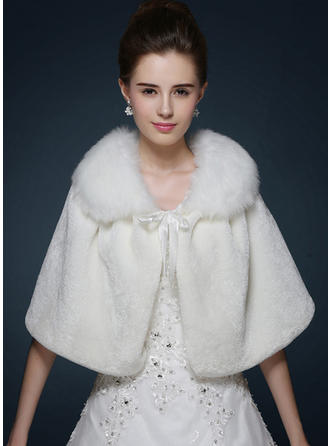 Wrap Fashion Faux Fur With Sashes / Ribbons Ivory Red Wraps