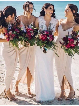 Sheath/Column V-neck Asymmetrical Bridesmaid Dresses With Ruffle