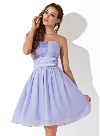 Empire Ruffle Beading Chiffon Homecoming Dresses Strapless Sleeveless Knee-Length