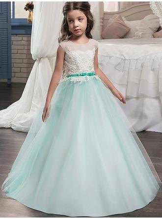 Ball Gown Scoop Neck Sweep Train With Sash/Appliques/Bow(s) Tulle Flower Girl Dresses