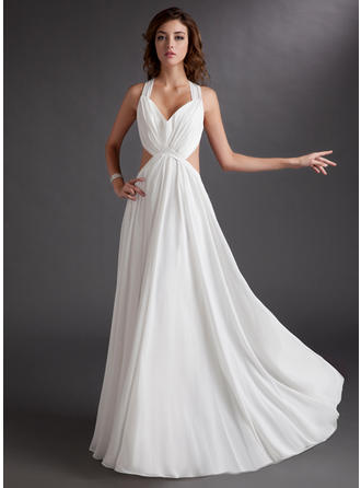 A-Line/Princess Sweetheart Floor-Length Evening Dresses With Ruffle