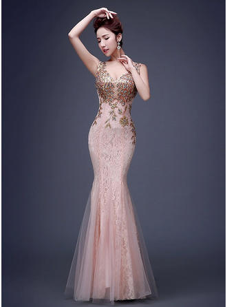Trumpet/Mermaid V-neck Floor-Length Evening Dress With Beading