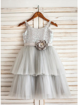 A-Line/Princess Tea-length Flower Girl Dress - Tulle/Sequined Sleeveless Straps