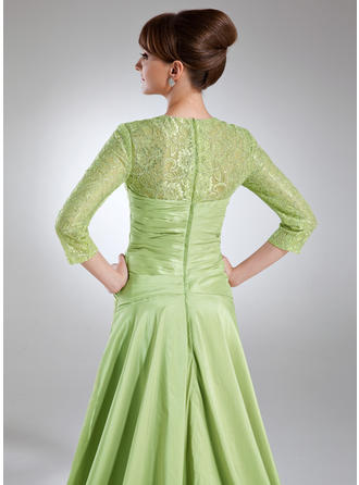A-Linie/Princess-Linie Schatz Taft Spitze 3/4 Ärmel Sweep/Pinsel zug Rüschen Kleider für die Brautmutter (008005950)