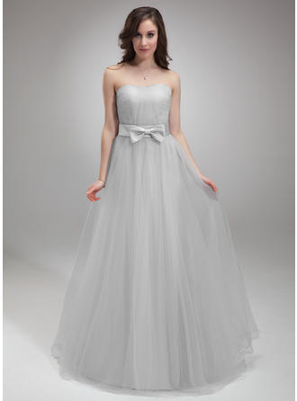 A-Line/Princess Sweetheart Floor-Length Tulle Homecoming Dresses With Ruffle Bow(s)