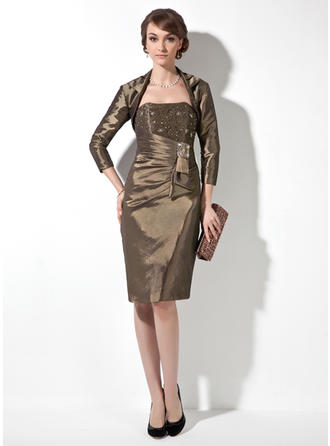 Sheath/Column Taffeta Sleeveless Sweetheart Knee-Length Zipper Up Mother of the Bride Dresses