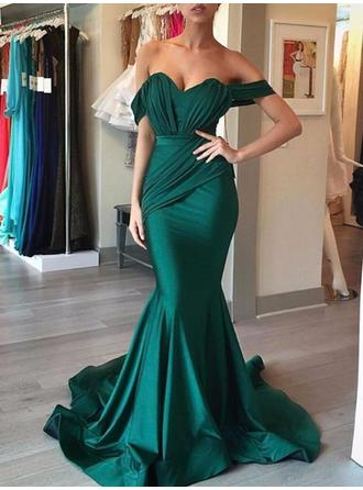 Delicate Silk Like Satin Evening Dresses Sweep Train Trumpet/Mermaid Sleeveless Off-the-Shoulder