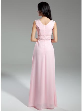 A-Linie/Princess-Linie Wasserfallausschnitt Chiffon Ärmellos Bodenlang Perlstickerei Kleider für die Brautmutter (008211371)