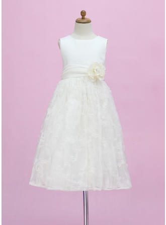 A-Line/Princess Scoop Neck Ankle-length With Flower(s) Satin/Lace Flower Girl Dress