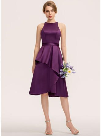 A-Line Scoop Neck Asymmetrical Satin Bridesmaid Dress