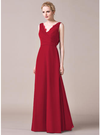 V-neck A-Line/Princess Chiffon Sleeveless Bridesmaid Dresses
