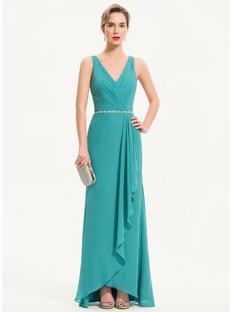 Sheath/Column V-neck Asymmetrical Chiffon Evening Dress