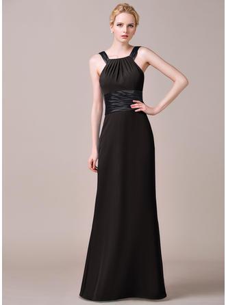 Scoop Neck Sheath/Column Chiffon Sleeveless Bridesmaid Dresses