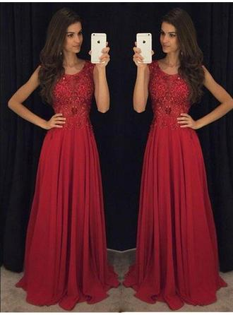 Scoop Neck Beading A-Line/Princess Chiffon Prom Dresses