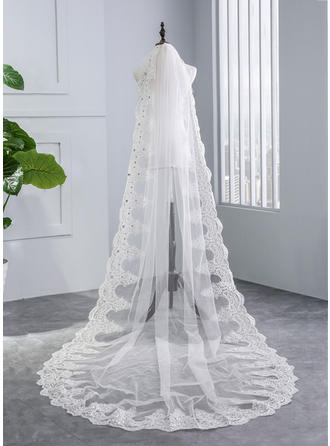 One-tier Lace Applique Edge Chapel Bridal Veils With Rhinestones