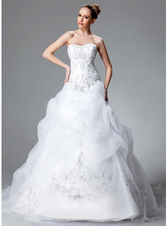 Satin Organza Strapless Chapel Train Delicate Wedding Dresses