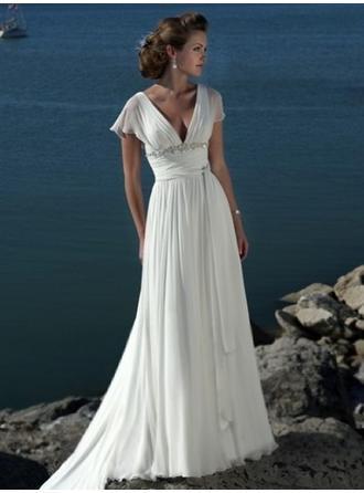 Empire V-neck Court Train Wedding Dresses With Ruffle Sash Beading