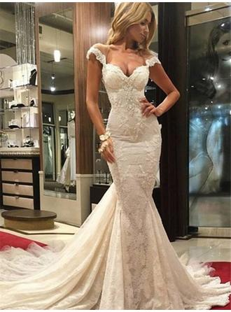 Trumpet/Mermaid Tulle Lace Sleeveless Sweetheart Chapel Train Wedding Dresses