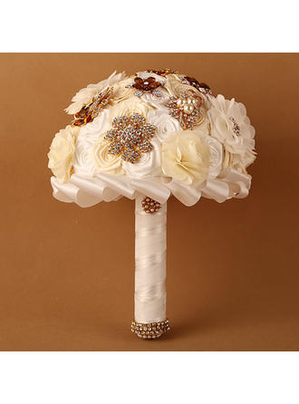 "Bridal Bouquets Round Wedding Satin/Ribbon 11.42""(Approx.29cm) Wedding Flowers"