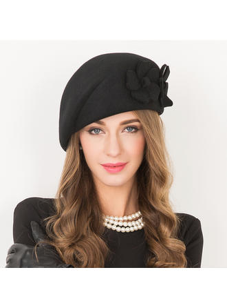 Wool With Flower Beret Hat Beautiful Ladies' Hats