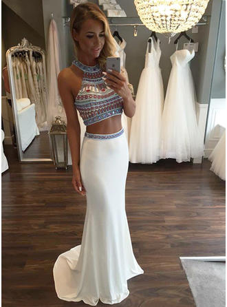 Jersey Sleeveless Trumpet/Mermaid Prom Dresses Scoop Neck Beading Sweep Train