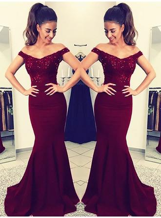 Charmeuse Sleeveless Trumpet/Mermaid Prom Dresses Off-the-Shoulder Lace Sweep Train (018210921)