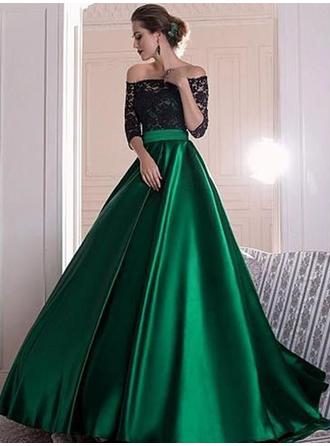 Flattering Satin Evening Dresses Sweep Train Ball-Gown 1/2 Sleeves Off-the-Shoulder
