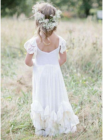 A-Line/Princess Scoop Neck Floor-length With Ruffles Chiffon/Lace Flower Girl Dress