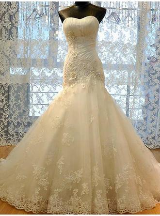 Sweetheart Trumpet/Mermaid Wedding Dresses Tulle Ruffle Beading Appliques Lace Sleeveless Court Train